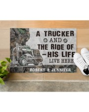 """Personalized A Trucker And The Ride Of His Life Doormat 22.5"""" x 15""""  aos-doormat-22-5x15-lifestyle-front-12"""