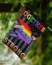 "LGBT - Home Of The Brave Flag 11.5""x17.5"" Garden Flag aos-garden-flag-11-5-x-17-5-lifestyle-front-15"