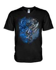 Diabetes Dragons V-Neck T-Shirt tile