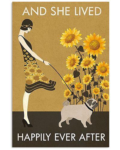 Sunflower Vintage Girl Lived Happily Pug