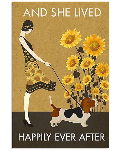 Sunflower Vintage Girl Lived Happily Basset Hound