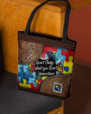 Autism Leather Pattern Don't Judge All-over Tote aos-all-over-tote-lifestyle-front-02