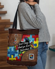 Autism Leather Pattern Don't Judge All-over Tote aos-all-over-tote-lifestyle-front-09