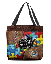 Autism Leather Pattern Don't Judge All-over Tote front