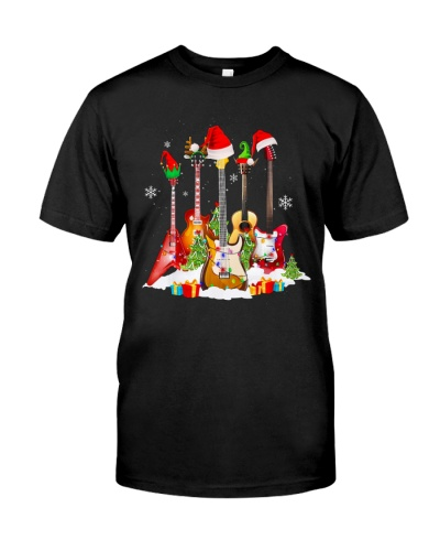 Guitar Santa Hat Christmas Tree Shirts