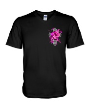 Breast Cancer - Faith Hope Love 2 Sides  V-Neck T-Shirt tile