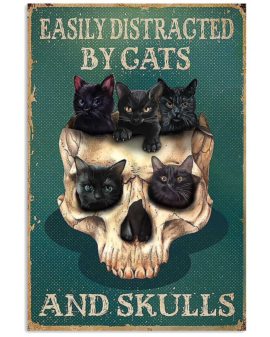 Easily Distracted By Cats And Skulls 11x17 Poster