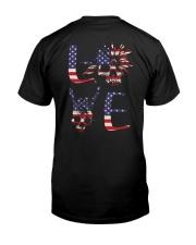 American Flag Skull Love 2 Sides  Classic T-Shirt back