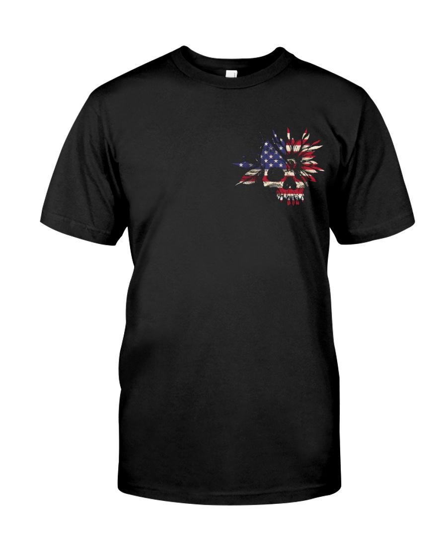 American Flag Skull Love 2 Sides  Classic T-Shirt