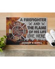 "Personalized Firefighter Flame Live Here Doormat Doormat 22.5"" x 15""  aos-doormat-22-5x15-lifestyle-front-12"