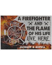 "Personalized Firefighter Flame Live Here Doormat Doormat 22.5"" x 15""  front"