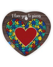 Autism I Love You To Pieces Heart Ornament (Wood) tile