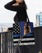 German Shepherd Back The Blue Tote  All-over Tote aos-all-over-tote-lifestyle-front-05