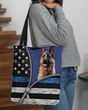 German Shepherd Back The Blue Tote  All-over Tote aos-all-over-tote-lifestyle-front-09
