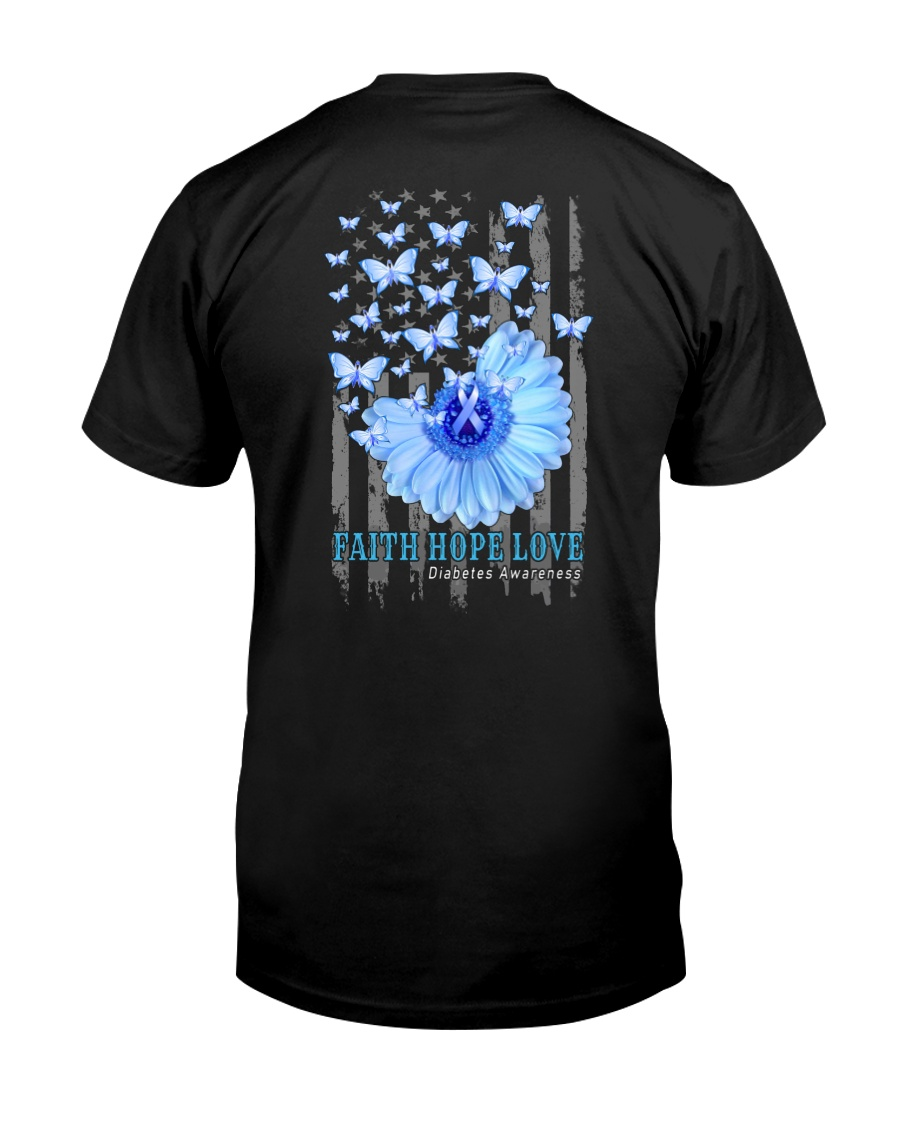Diabetes Faith Hope Love 2 Sides Classic T-Shirt