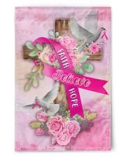 """Breast Cancer Faith Hope Believe Flag 11.5""""x17.5"""" Garden Flag front"""