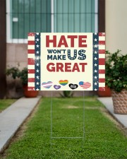 Lgbt - Hate Won't Make US Great 24x18 Yard Sign aos-yard-sign-24x18-lifestyle-front-14