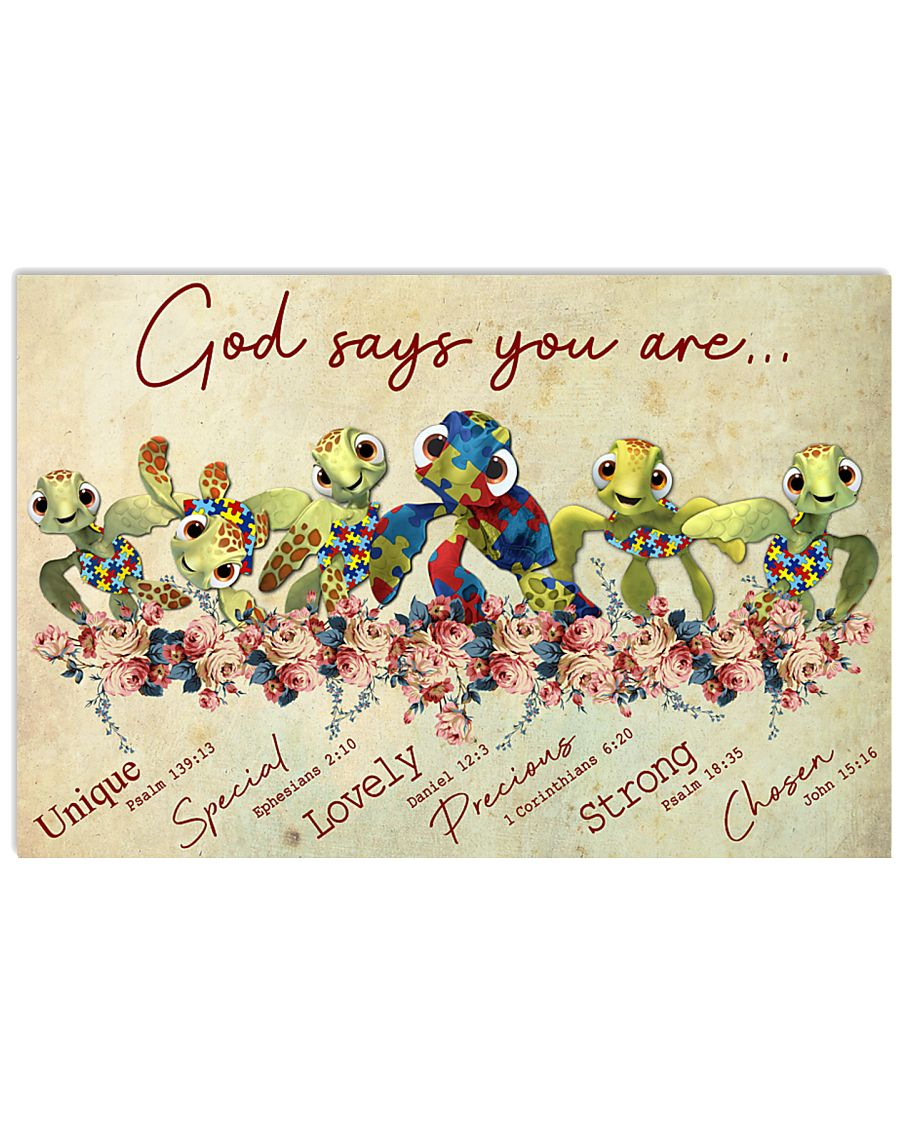 Autism God Say You Are Turtle  17x11 Poster