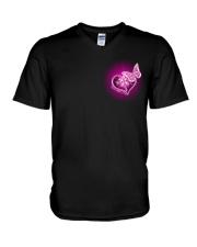 Breast Cancer God Strengthens Me 2 Sides V-Neck T-Shirt tile