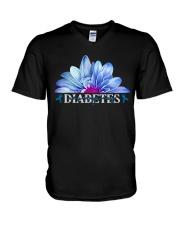Diabetes Never Give Up V-Neck T-Shirt tile
