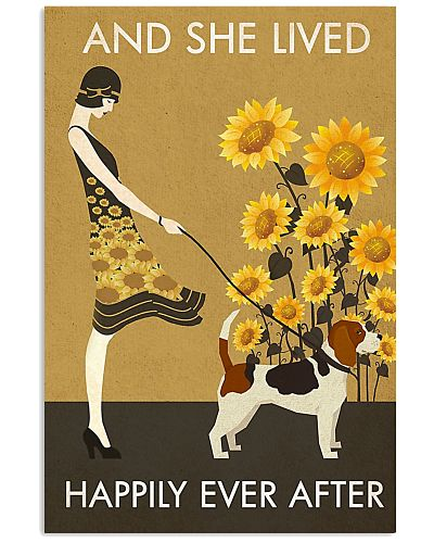 Sunflower Vintage Girl Lived Happily Beagle