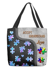Autism Accept Understand Love Tote Bag All-over Tote back