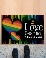 """Custom Lgbt Love Lives Here Personalized Name  Doormat 22.5"""" x 15""""  aos-doormat-22-5x15-lifestyle-front-10"""