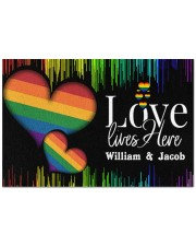 """Custom Lgbt Love Lives Here Personalized Name  Doormat 22.5"""" x 15""""  front"""