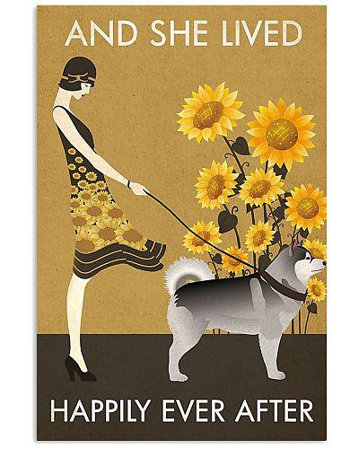 Sunflower Vintag Lived Happily Alaskan Malamute