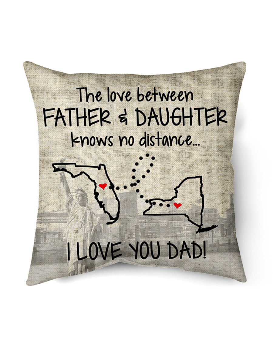 "LOVE BETWEEN FATHER AND DAUGHTER NEW YORK FLORIDA Indoor Pillow - 16"" x 16"""