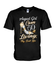 August Girl Over 50 And Living My Best Life V-Neck T-Shirt thumbnail