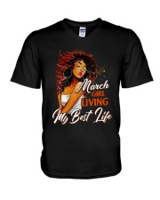 March Girl Living My Best Life V-Neck T-Shirt thumbnail