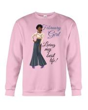 February Girl Living My Best Life Crewneck Sweatshirt thumbnail