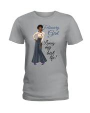 February Girl Living My Best Life Ladies T-Shirt thumbnail