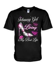 February Girl Living My Best Life V-Neck T-Shirt thumbnail