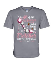 A Queen Was Born In October V-Neck T-Shirt thumbnail