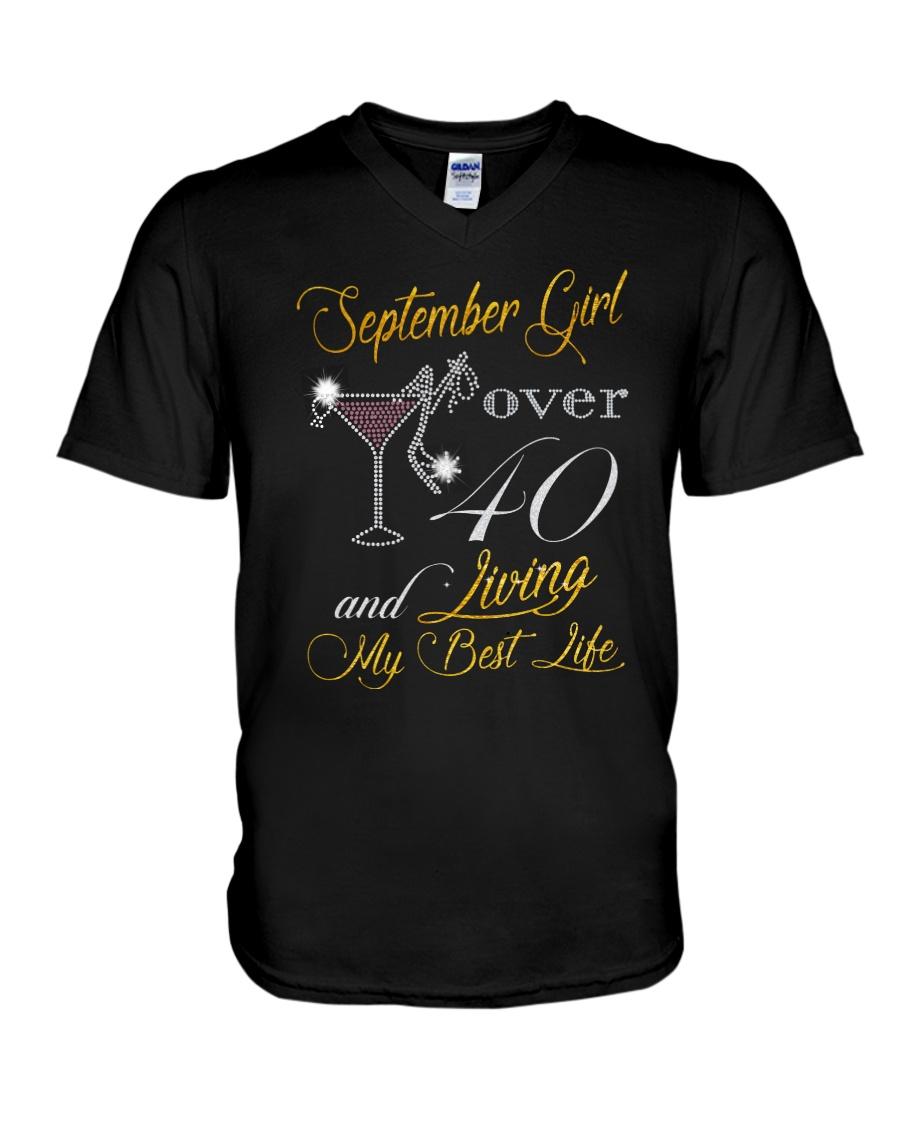 September Girl Over 40 And Living My Best Life V-Neck T-Shirt