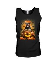 Rottweiler And Pumpkin Unisex Tank thumbnail