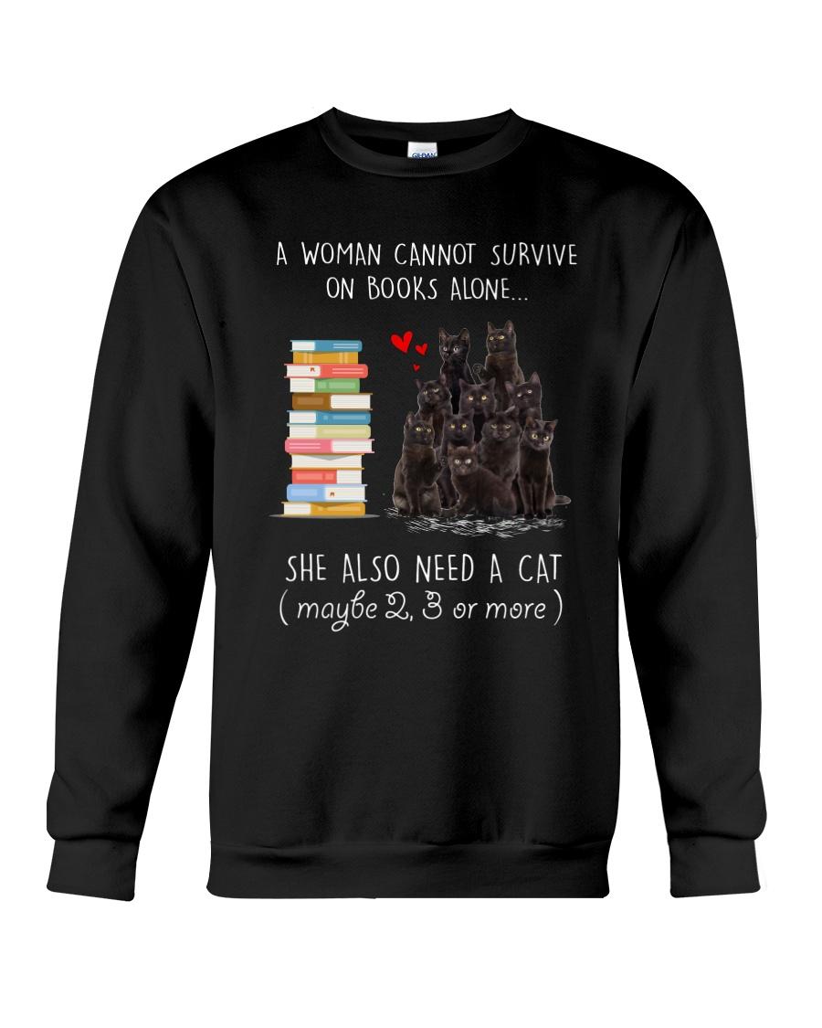 Books And Black Cat Crewneck Sweatshirt