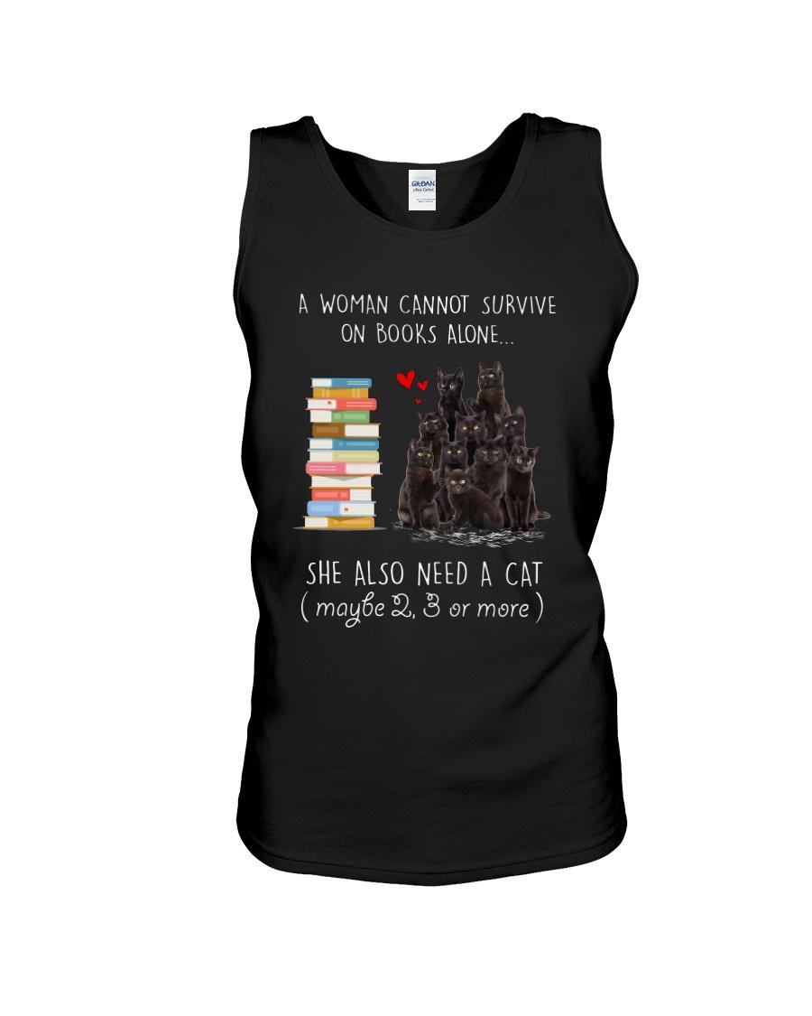 Books And Black Cat Unisex Tank