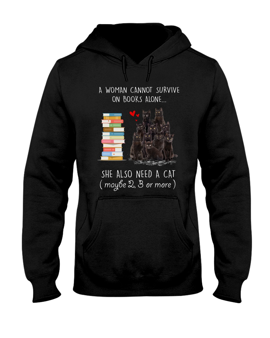 Books And Black Cat Hooded Sweatshirt