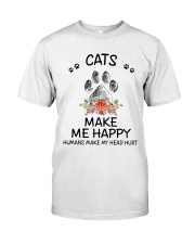 Cats Make Me Happy Classic T-Shirt front