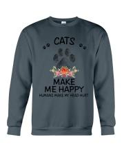 Cats Make Me Happy Crewneck Sweatshirt thumbnail