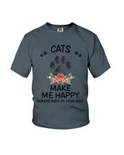 Cats Make Me Happy Youth T-Shirt thumbnail