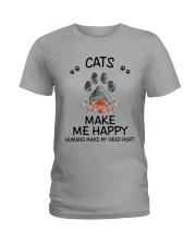 Cats Make Me Happy Ladies T-Shirt thumbnail