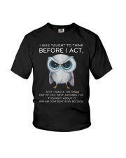 Think Before Act Owl Youth T-Shirt thumbnail