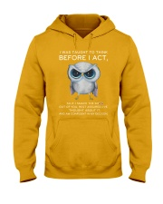 Think Before Act Owl Hooded Sweatshirt front