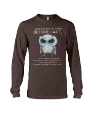Think Before Act Owl Long Sleeve Tee front