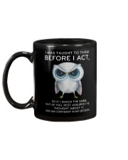 Think Before Act Owl Mug back