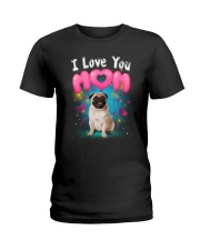 Pug  I Love Mom Ladies T-Shirt thumbnail